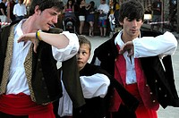 Dancers performing the 'pericote' dance, Vidiago, Llanes, Asturias, Spain