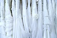 Europe, Germany, Munich, Close up of variety of wedding dress in shop