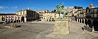 Europe, Spain, Extremadura, Trujillo, View of Plaza Mayor city with Francisco Pizarro monument