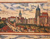 Czechoslovakia, the seventeenth century. View of the citadel of Prague. Engraving taken from Civitates Orbis Terrarum by G. Braun and F. Hogenberg, Le...