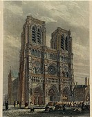 France, Paris, View of the Cathedral of Notre_Dame, engraving