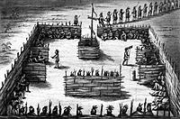 OJIBWA SWEAT LODGE. /nCeremonial gathering of Ojibwa Native American men in a madoodiswan, or sweat lodge, in present_day Minnesota. Line and mezzotin...