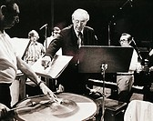 Austria, diessen am ammersee, German composer Carl Orff 1895_1982, and Austrian conductor Herbert von Karajan 1908 _ 1989, during recording of Temporu...