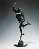 Italy, end of the 16th century - School of Giambologna, bronze statuette of Flying Mercury.  Milan, Museo Poldi Pezzoli (Art Museum)