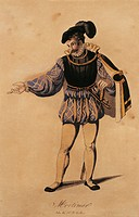 Austria, Vienna, Costume sketch for Mortimer in Mary Stuart by Gaetano Donizetti
