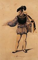 Gaetano Donizetti (1797-1848), Maria Stuarda (Mary Stuart), 1835. Costume sketch for Mortimer  Vienna, Historisches Museum Der Stadt Wien (History Mus...
