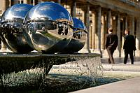 Paris  France  Fountain of shiny spheres by Belgian artist Pol Bury in the courtyard of the Palais Royal  1st Arrondissement