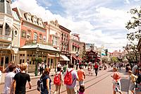 People in the Main Street USA at Disneyland Paris in France