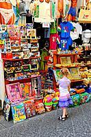Little Girl Shopping Amalfi Italy Mediterranean Sea Coast Cruise Europe
