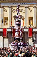 Colla Jove Xiquets de Tarragona ´Castellers´ building human tower, a Catalan tradition Festa de Santa Tecla, city festival  Plaça de la Font Tarragona...
