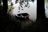 Small boat tied to a tree by riverbank, Llanes, Asturias, Spain