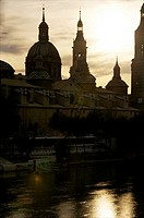 El Pilar Basilica, and its reflections in Ebro river, skyline, at night, Zaragossa, Aragon ,Spain