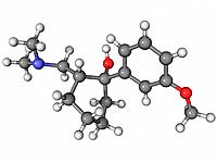 Tramadol, molecular model. This is a synthetic opioid analgesic painkiller drug. Atoms are represented as spheres and are colour_coded: carbon grey, h...
