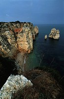 Portugal - Algarve. Cliffs and rocks on the coast between the promontory of Ponta da Piedade and Lagos