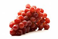 Bunch of wet red grapes