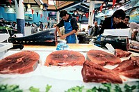 Fish market. Line_caught Atlantic bluefin tuna Thunnus thynnus on sale at a fish market in Saint_Jean_de_Luz, France.