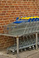 Blue, Brick Wall, Cart, Close_Up, Group Of Objects