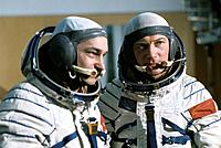 Soyuz 31 crew. Soviet cosmonaut Valery Fyodorovich Bykovsky born 1934, right and German cosmonaut Sigmund Jahn born 1937, left before their Soyuz 31 s...