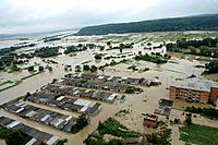 Ukraine flooding. Aerial photograph of a village inundated by the floods that hit western Ukraine in July 2008. Tens of thousands of homes, hundreds o...