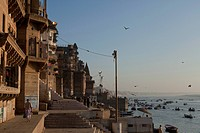 real view of street in Ganges River, Varanasi, Uttar Pradesh, India