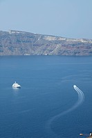 Ships Sailing on Aegean Sea, Oia, Santorini, Cyclades Islands, Cyclades Prefecture, Greece, Europe