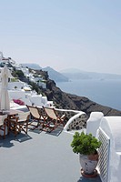 view of Oia in Santorini from outdoor cafe, Cyclades Islands, Cyclades Prefecture, Greece, Europe