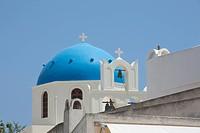 Blue domed church along caldera edge in Santorini, Cyclades Islands, Cyclades Prefecture, Greece, Europe