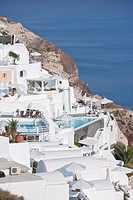 outside view of hotel in Oia, Santorini, Cyclades Islands, Cyclades Prefecture, Greece, Europe