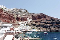 Santorini island with ships in the background, Santorini, Cyclades Islands, Cyclades Prefecture, Greece, Europe