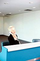 Businesswoman sitting behind ticket counter, talking on the phone