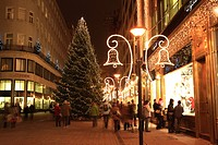 Christmas tree, Illumination, shopping, Budapest, Hungary, Europe