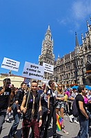 Munich, Marienplatz, Christopher Street Day, Gay parade, Bavaria, Germany