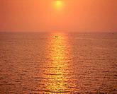 Orange sunset over sea. Onga, Fukuoka Prefecture, Japan