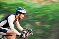 Cyclist on a racing bicycle