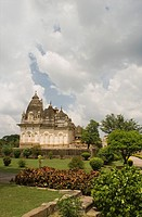 Park in front of a temple, Lakshmi Temple, Khajuraho, Chhatarpur District, Madhya Pradesh, India