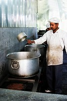 Chef cooking in a restaurant, New Delhi, India