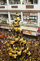 People celebrating Dahi Handi festival, Mumbai, Maharashtra, India