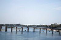 Railway Bridge across the river, Sabarmati River, Ahmedabad, Gujarat, India