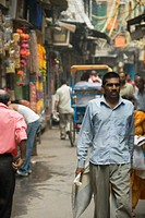People walking in a street, Chandni Chowk, Delhi, India