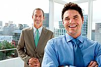 Two businessmen in office, portrait (thumbnail)