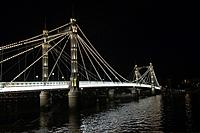 Albert Bridge lit up at night