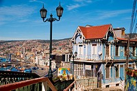 Historical house in hills of Valparaiso, Chile