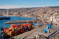 Panoramic view of Valparaiso port, Chile