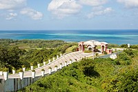 Entrance road to resort overlooking Caribbean Sea on the island of Roatan, in Honduras