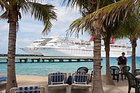 Carnival cruise ships Triumph and Ecstasy at pier are seen through palm trees at the port of Cozumel, Mexico in the Caribbean Sea