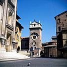 Buildings in Piazza Mantegna including Rotonda. Pigeon