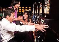 Excited people winning in casino