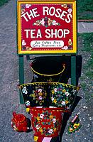 Kennet & Avon canal. Canalware advertising Roses Tea Shop. Painted metal by Kathy Knill.