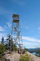 Fire Tower on Bald  Rondaxe  Mountain in the Old Forge area of the Adirondack Mountains of New York State