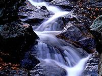 Stream in autumn, close up, long exposure, Ibaragi prefecture, Japan